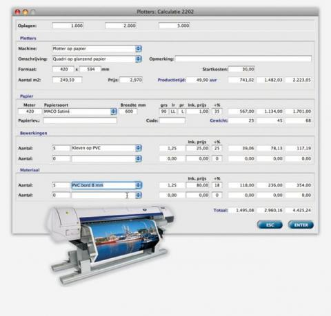 Large & Wide format calculatie met MultiPress